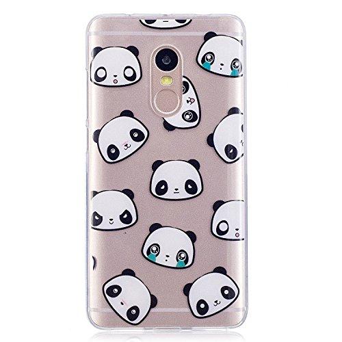 Funda Xiaomi Redmi Note 4 , E-Lush Suave Silicona TPU Carcasa Ultra Delgado Cáscara Clear Flexible Gel Parachoques Goma Mate Transparente Case Cover Pintura del impresión Elegante Bumper Premium y Cre Panda