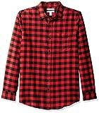 Amazon Essentials Men's Slim-Fit Long-Sleeve Plaid Flannel Shirt, Red Buffalo, Large