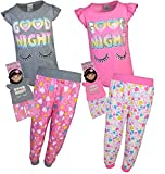 BFF & ME Girls 4 Piece Jogger Pajama Set with Matching Doll Pajamas, Goodnight, Size 7/8'