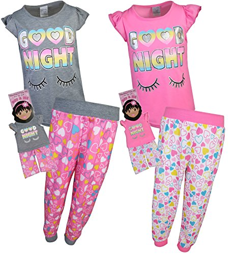 BFF & ME Girls 4 Piece Jogger Pajama Set with Matching Doll Pajamas, Goodnight, Size 4/5' -