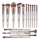 ITME [Upgrade Version] Premium Makeup Brush Set Synthetic Cosmetics Professional Handle Makeup Brush Kit (Pack of 16,Rose Gold Champagne)