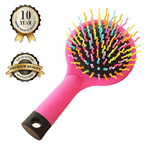 Hilinker Hair Brush - Detangle Hair Easily With No Pain - Good For Wet Or Dry Hair - Adults & Kids Rainbow (Pink)