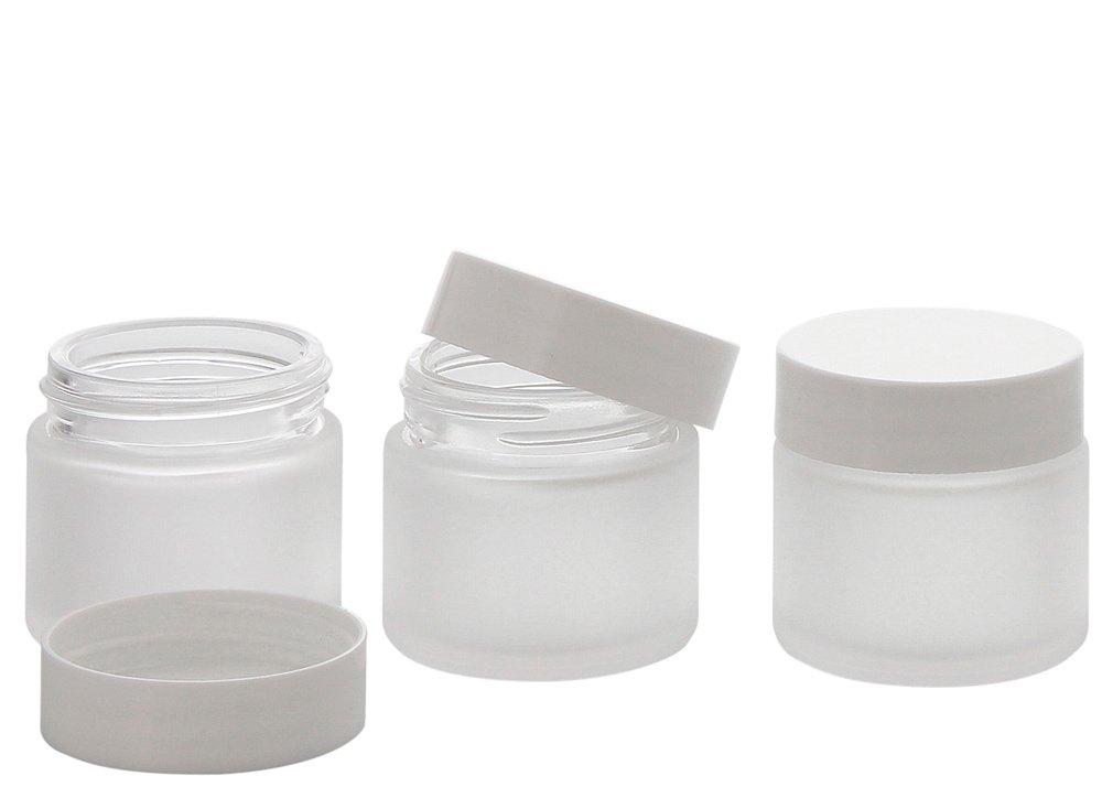 Matt Glas-Tiegel 30 ml m. Deckel, Leere Kosmetex Glas Creme-Dose, Kosmetik-Dose, 6× 30 ml Mattglas Silber Deckel