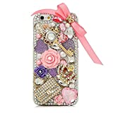 STENES iPhone 5/5S/SE Case - [Luxurious Series] 3D Handmade Shiny Crystal Sparkle Bling Case With Retro Bowknot Anti Dust Plug - Crystal Crown Key Girls Bag Rose Flowers/Pink