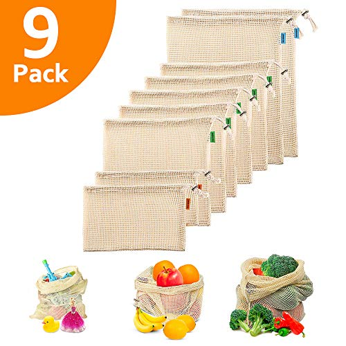 Reusable Mesh Produce Bags - Premium Washable Mesh Bags for Grocery Shopping, Storage of Fruit Vegetable and Garden Produce Eco Friendly Net Bags (Cotton)