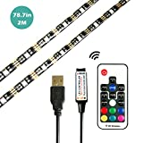 LinKop USB LED Strip 2M Waterproof 5V RGB TV LED Backlight Kit with Remote for HDTV, Laptop PC etc (2M-30leds-17Key RF Remote)