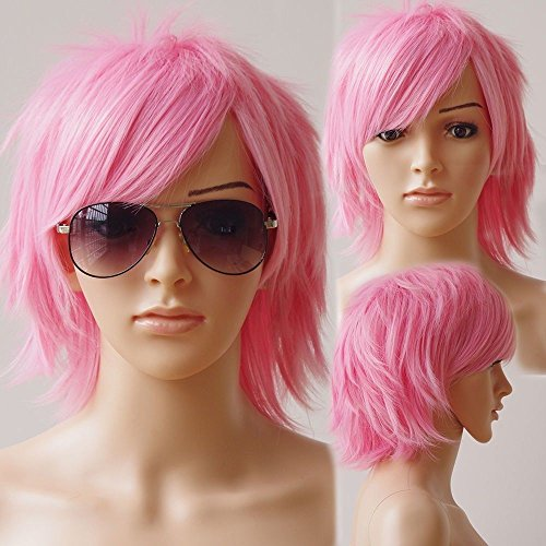 Unisex Women Short Curly Straight Cosplay Wig Anime Hair Tail Full Wigs Heat Resistant Synthetic Wig Wigs Japanese Kanekalon Fiber Full Wig for Women Boyes Girls Lady Dark (Adult Short Pink Wig)