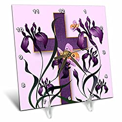 3dRose Doreen Erhardt Inspirational - Purple Iris Flowers with a Christian Cross and Butterflies - 6x6 Desk Clock (dc_266786_1)