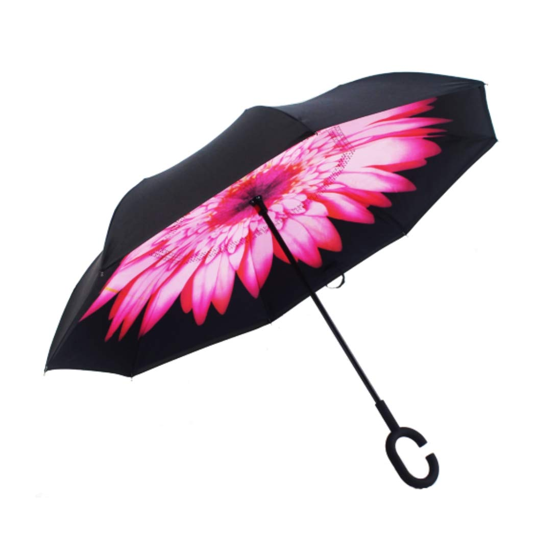 FEBBIS 逆さ自動開き傘 2層 紫外線保護 防風 雨シーズンに最適 ピンクのヒマワリ  B07MTHJ1ZF