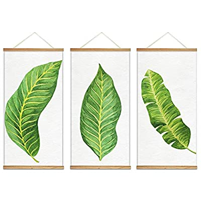 Lovely Expertise, Made With Love, Hanging Poster with Wood Frames Beautiful Green Plants Home Wall x3 Panels