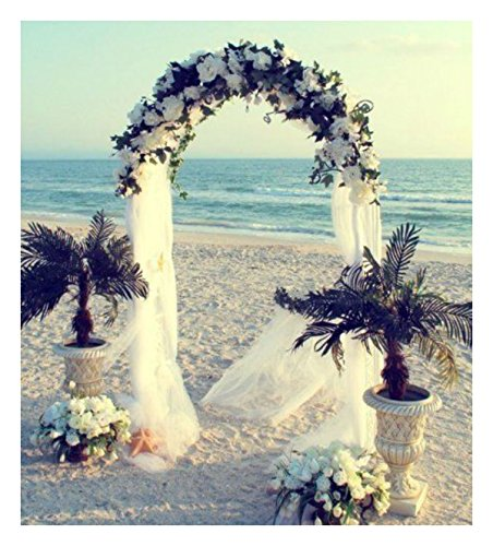7.5' Metal Arch (WHITE METAL ARCH 7.5 FT for Wedding Party Bridal Prom Garden Floral Decoration)