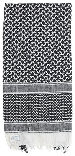 Premium Heavyweight Shemagh Scarf with ARMY UNIVERSE Pin - White & Black