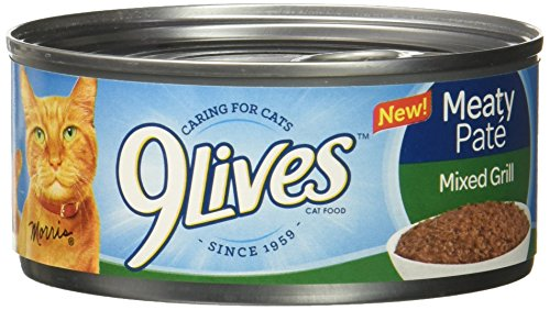 9 Lives Meaty Pate Mixed Grill Wet Cat Food (6 Pack), 4/5.5 oz