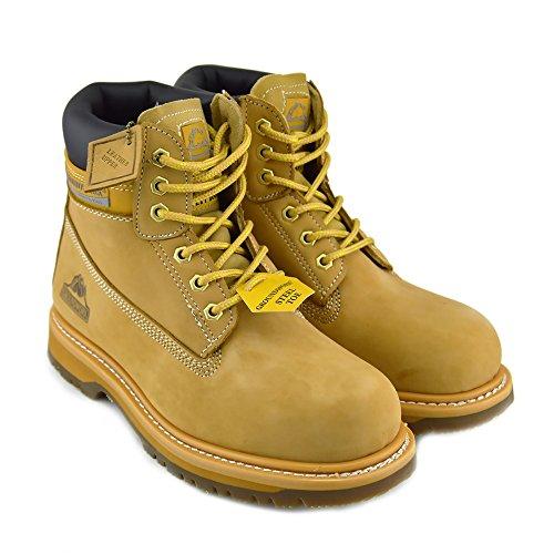 Herren Groundwork Stahl-Zehe-Sicherheits-Schuhe Lace Up arbeiten Knöchel-Leder-Stiefel Händler Honig