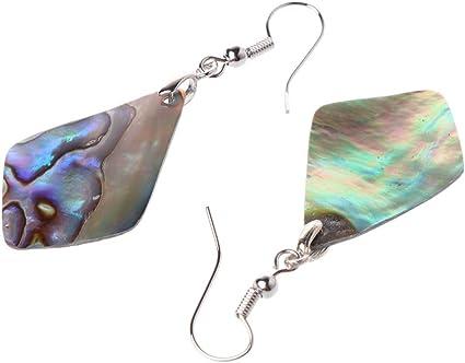 Simdoc Round Natural Abalone Shell Drop Dangle Earrings Fashion Jewelry For Women Girls