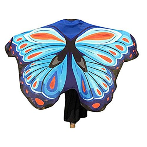 VESNIBA Soft Fabric Butterfly Wings Shawl Fairy Ladies Nymph Pixie Costume Accessory (197125CM, Sky -