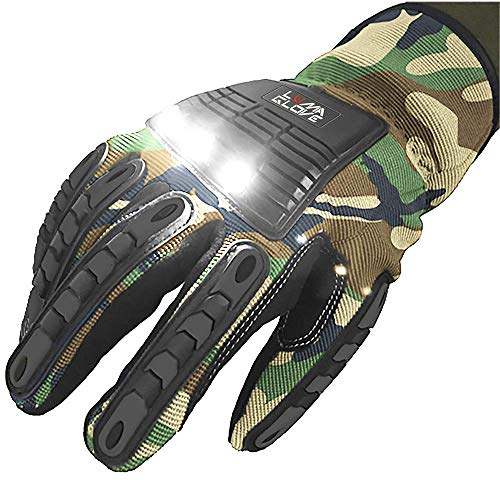 LUMAGLOVE HD Contractor Grade Gloves with COB LED Light Built into Knuckles (Pair)
