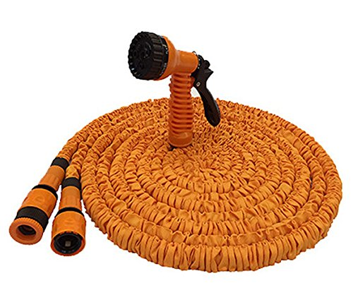 JJTGS Expandable Garden Hose,Strongest Expandable Garden Hoses,Super Lightweight Automatically Expands and Contracts,Car Washing Hose for Watering Plants,Auto Wash,Cleaning Patio House(Orange) (25FT)