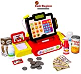 large calculator cash register - 27 Piece Cash Register Set With Pretend Play Food, Money, Lights and Sounds by Big Mo's Toys