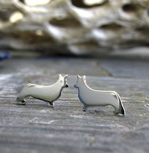 Cardigan Welsh Corgi stud earrings polished sterling silver tiny dog jewelry. Handmade in the USA.