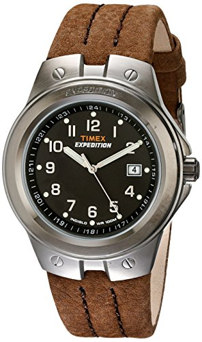 Timex Men's T49631 Expedition Metal Tech Brown Leather Strap - Mens Metal Timex Expedition