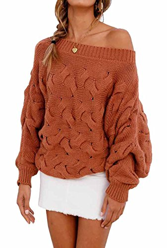 Off Shoulder Loose Batwing Sleeve Pullover Sweater Knit Jumper Brown ()