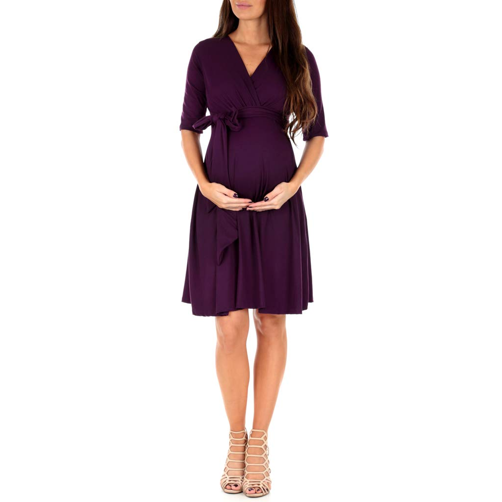 Women's Knee Length Wrap Dress with Belt - Made in USA Eggplant Medium