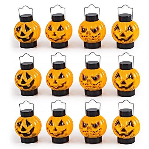 JOYIN 1 Dozen Halloween Light Up Pumpkin Lanterns