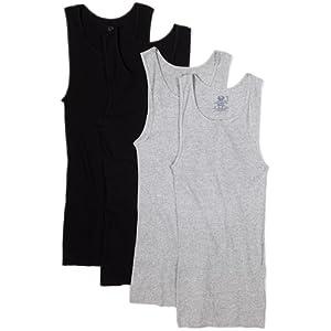 Fruit of the Loom Men's A-Shirt (Pack of 4), Black/Gray, Medium