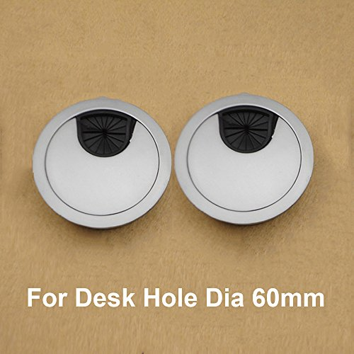 2x Metal Round Computer Desk Grommet Cable Hole Covers for Management of Office & Computer Desk, Hole Dia - Round 60mm