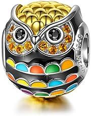 NINAQUEEN® Charm - Gufo Uccello di Saggezza Argento Sterling 925 Smalto, Regalo per Lei, con Confezione di Scatola Regalo, per Regali di Compleanno Anniversario