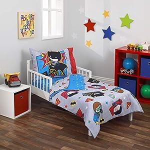 Warner Brothers Justice League 4 Piece Toddler Bedding Set, Grey/Blue/Red/Black
