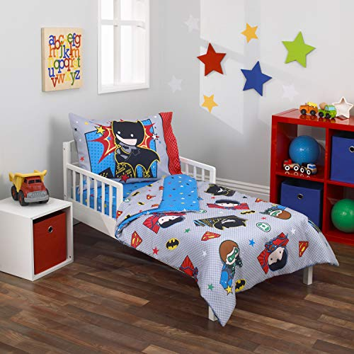 Warner Brothers Justice League 4 Piece Toddler Bedding Set, Grey/Blue/Red/Black