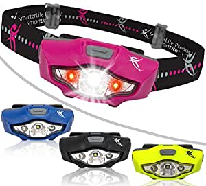 Headlamp by SmartLite Ultra | CREE LED Headlight with Strobe, Lightweight, Water Resistant for Camping, Running, Hiking, Emergency Kit, and Reading Light (Hot Pink)