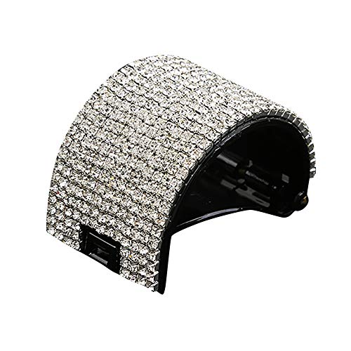UROSA Women Girls Round Crystal Hairpin Hair Claw Acrylic Jaw Ponytail Clip Grip Clamp Black]()