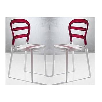 LA SEGGIOLA Lot De 2 Chaises Design Dejavu En Plexiglas Rouge Et Blanc