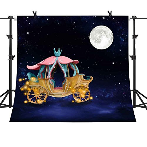 MME 10x10Ft Fairy Tale Backdrop Pumpkin Carriage Backdrop Cinderella Background Night View Props Photo Vinyl Video Studio SHME001 ()