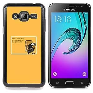 "Qstar Arte & diseño plástico duro Fundas Cover Cubre Hard Case Cover para Samsung Galaxy J3(2016) J320F J320P J320M J320Y (Flaco grasa Dieta Mujer Cita divertida"")"