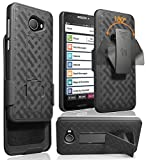 Jitterbug Smart2 Case with Clip, Nakedcellphone [Black Tread] Kickstand Cover with [Rotating/Ratchet] Belt Hip Holster Combo for GreatCall Jitterbug Smart2 Phone (5049SJBS2, Smart-2)