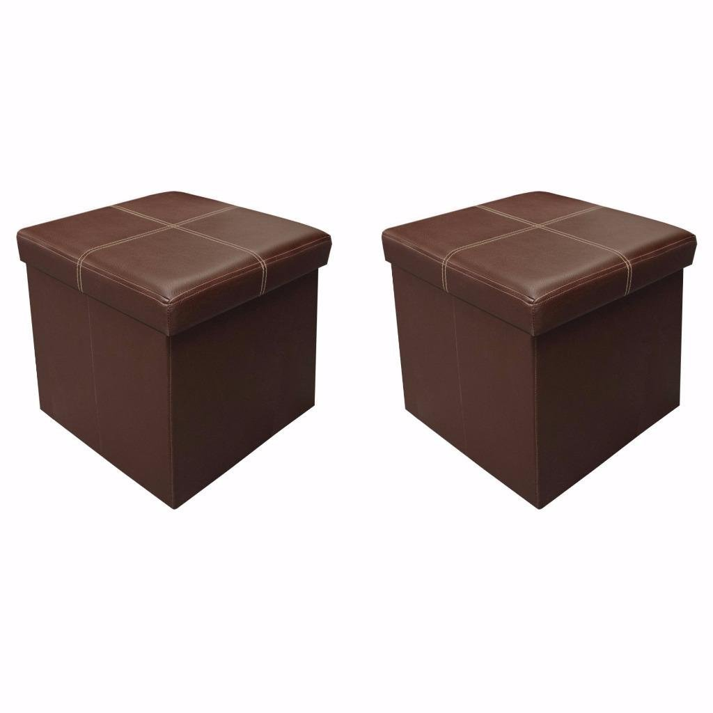 Otto & Ben 15'' Storage Ottoman - [2pc Set] Folding Toy Box Chest with Memory Foam Seat, Faux Leather Ottomans Bench Foot Rest Stool, Line Brown