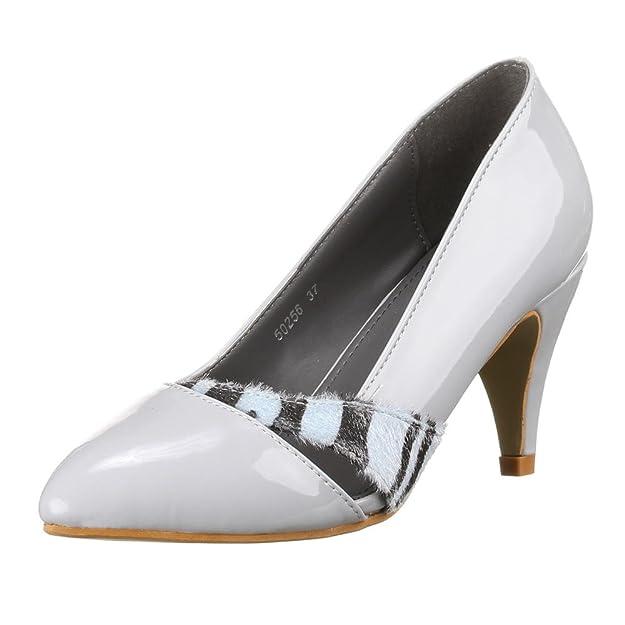 Damen Schuhe, 50256, PUMPS, MODERNE LACKLEDEROPTIK PUMPS, Synthetik, Grau,  Gr 41: Amazon.de: Schuhe & Handtaschen