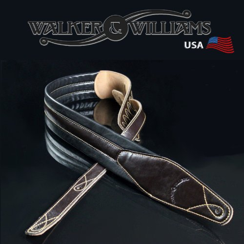 Walker & Williams C21 Brown Padded Leather Strap for Guitar or Bass 2.75