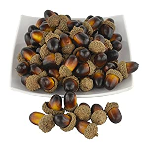 SAMYO Simulation Artificial Lifelike Fruit Nutty-brown Acorns for Fall Table Scatter Crafting, drawing,Home House Kitchen and Autumn Decoration 95