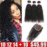 QinMei Brazilian Curly Hair 3 Bundles With Closure Unprocessed Curly Wave Virgin Human Hair Weave Bundles With Lace Closure (10 12 14 with 10 Free Part)
