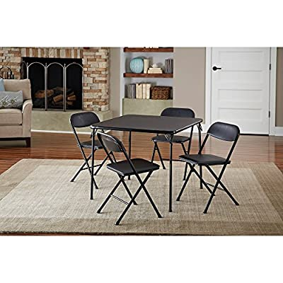Luxury 5-Piece Card Table Set Low-Maintenance And Long-Lasting Powder-Coat Frame Finish, Black - 5-piece card table and chair set is available in black to complement virtually any decor Black card table set has easy-to-clean vinyl upholstered chair seats with comfortable foam pad PVC tabletop on folding card table makes it easy to manage spills - kitchen-dining-room-furniture, kitchen-dining-room, dining-sets - 51q1Trh ZyL. SS400  -
