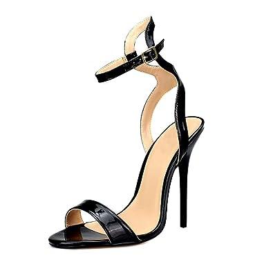 47d4fc6b220 MAIERNISI JESSI Unisex Men s Women s Peep Toe Stiletto High Heels Ankle Strap  Back Hollow Sandals Black