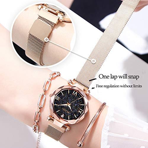 Jechin Luxury Women's Magnetic Buckle Bright Starry Sky Watches Mesh Belt Rose Gold Quartz Bracelet Watch - Perfect Valentine's Day Gift