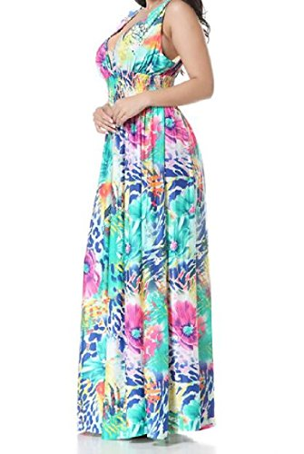Neck Picture Maxi Women Printed Dress Comfy Deep Sexy Long As Floral V Sleeveless xpqFIw8