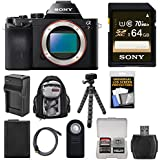 Sony Alpha A7 Digital Camera Body with 64GB Card + Battery & Charger + Backpack + Flex Tripod Kit