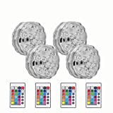 Updated Version Submersible LED Lights, Underwater Accent Lights for Aquarium Fountain Vase Pond Swimming Pool Garden Hot Tub, Remote Control Waterproof RGB Multi Color Changing(4 Pack)